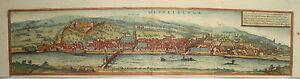 Heidelberg-Baden-Wuerttemberg-seltener-Braun-und-Hogenberg-Kupferstich-1580