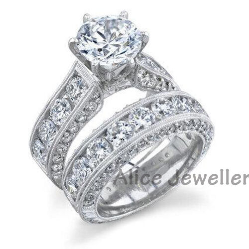 Round CZ 925 Sterling Silver White Gold Plated Engagement Ring Wedding Band Sets