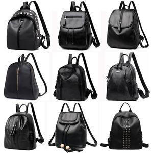 ef364a28f16f72 Image is loading Women-Lady-Leather-Backpack-Travel-Shoulder-School-Bag-