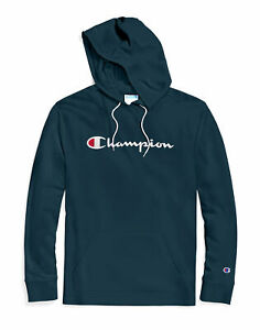 Champion-Men-039-s-Hoodie-Middleweight-Script-Logo-Cotton-Jersey-Athletic-Fit-Kanga