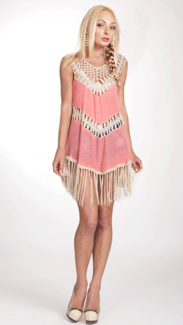 Sleeveless Tunic Crochet Fringes Dress by Umgee USA