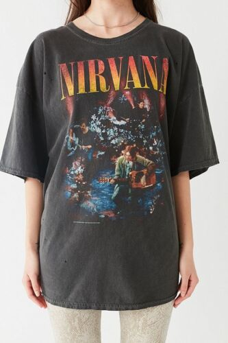NIRVANA UNPLUGGED URBAN OUTFITTERS T-SHIRT DRESS WASHED BLACK ONE SIZE FIT ALL