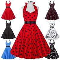 Ladies 1950s 60s Style Vintage Polka Dot Swing Jive Short Prom Dress