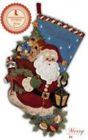 "Bucilla Christmas Joy Felt Stocking Kit 86019 Santa Toys 18"" New Craft Supplies"