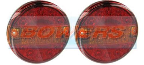 2x 12V/24V LED SLIM SLIMLINE FLUSH FIT REAR ROUND HAMBURGER TAIL LAMPS LIGHTS