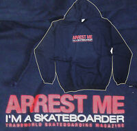 Arrest Me I'm A Skateboarder - Skateboard Hooded Top / Hoodie Navy - 46 Chest