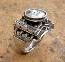 V8 Ring Motor Block Engine Automotive Jewelry V 8 Engine 925 Sterling Hot Rod