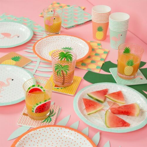 New Sass /& Belle Tropical Summer Pineapple Partyware 8 Plates 8 Cups 20 Napkins