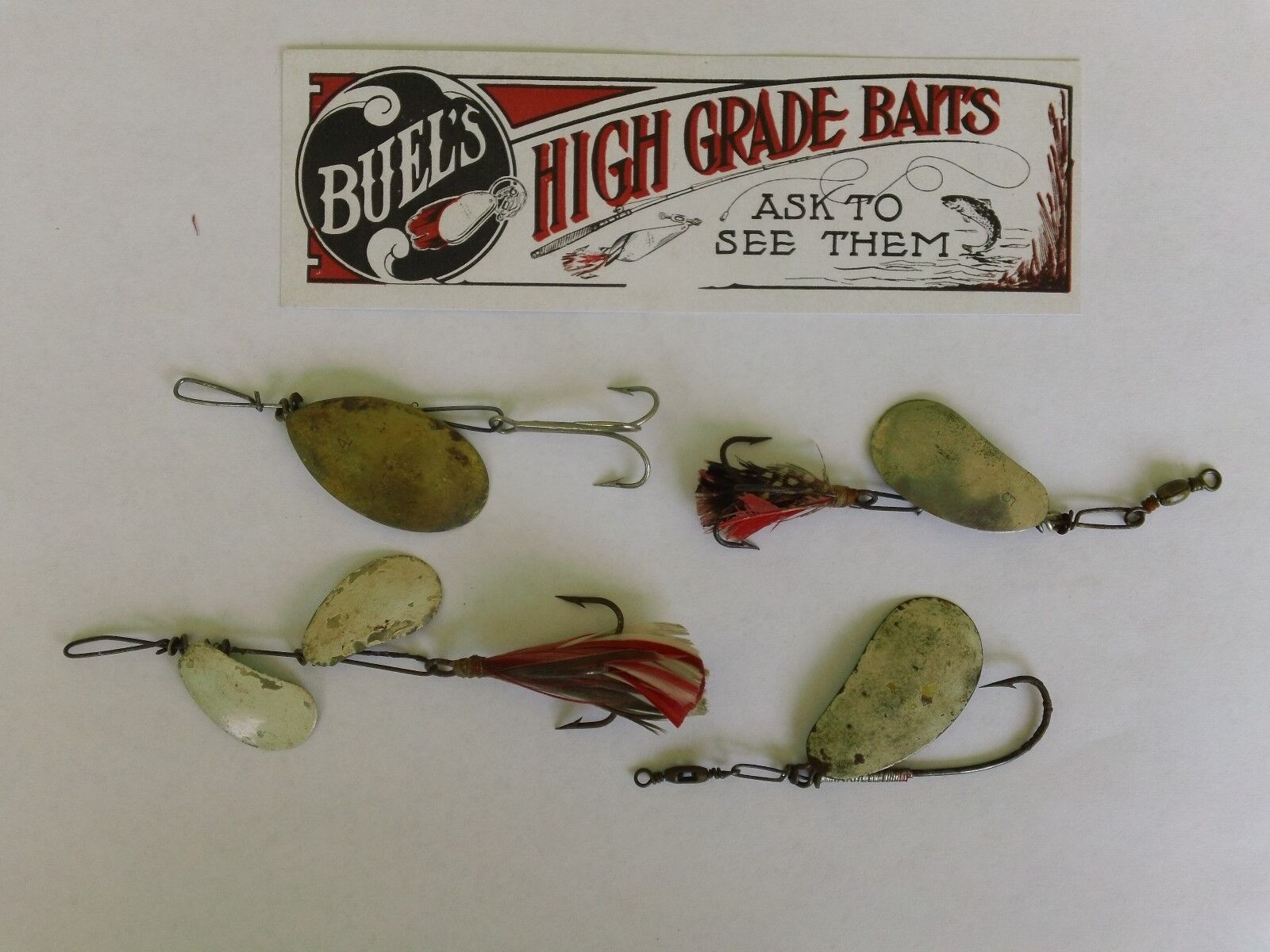 RARE VINTAGE J. T. BUEL SPINNER LURES-4 LURES-WHITEHALL, N. Y.-IN VERY GOOD COND