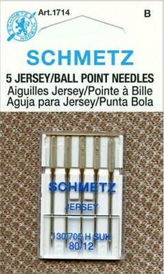 Schmetz Ball Point Jersey Machine Needles Size 80//12 5 Piece Card