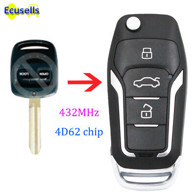 Upgraded Flip Remote Car Key Fob 433MHz 4D62 for Subaru Impreza Forester Liberty