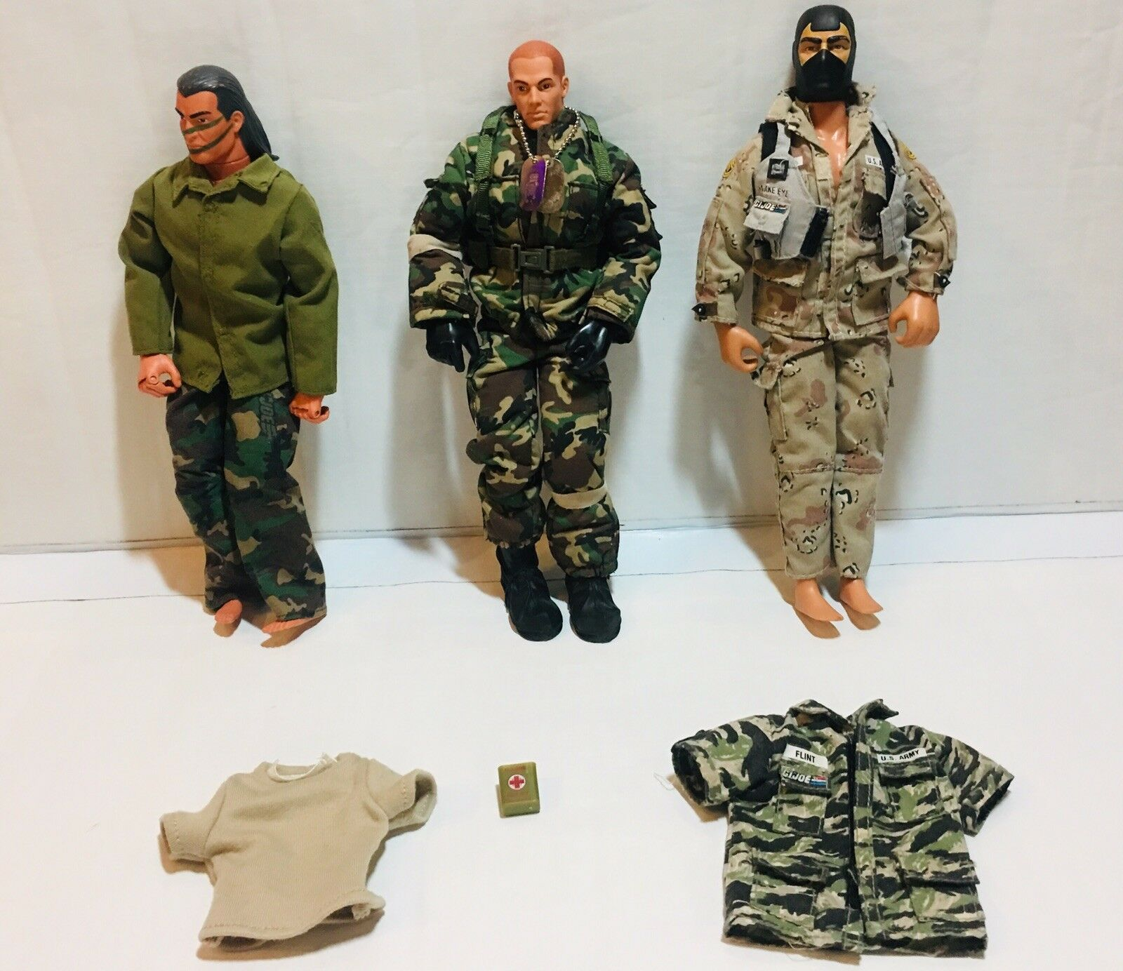 Lot of 3 Vintage 1992 & 1996 GI Joe, Snake Eyes & Spirit 12 Inch Action Figures