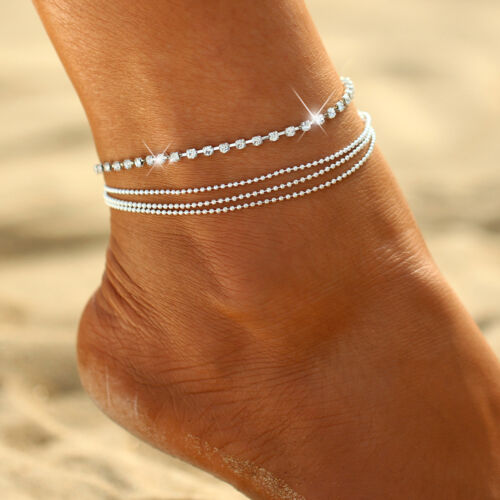 Silber Kette Schmuck Geschenk Perlen SDM7 Fußkettchen Fusskette Blogger Farbe