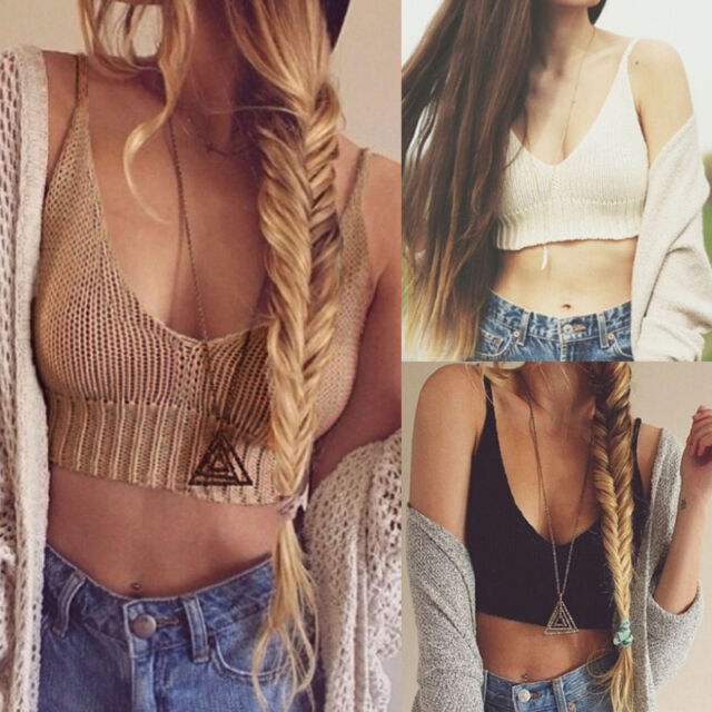 Sexy Women Bralette Crochet V Neck Knit Cami Tank Crop Top Beach Bikini Bra Boho
