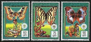 Mauritanie 683-685, MNH Garçon Scouts Observation Papillons, 1991