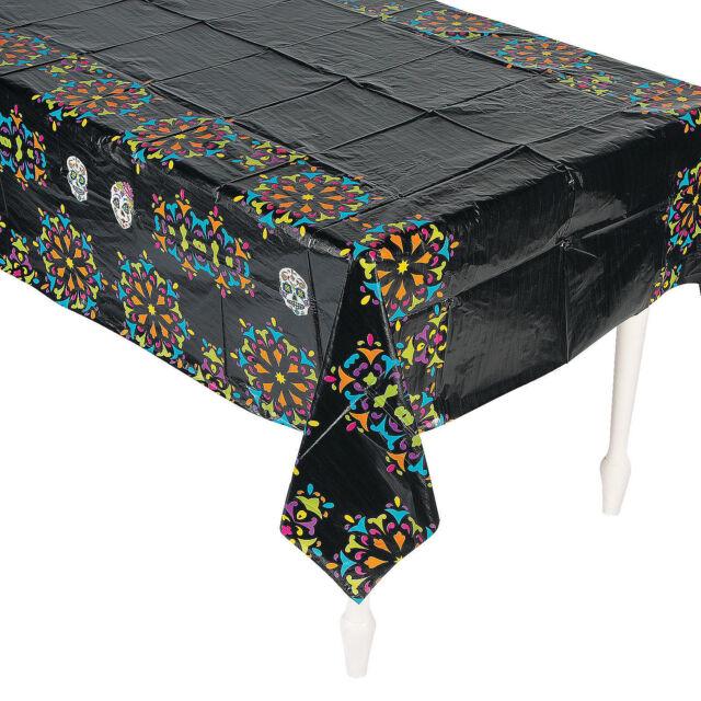"""Day of The Dead Día de Los Muertos Party Decoration BLACK Table Cover 54"""" x 108"""""""