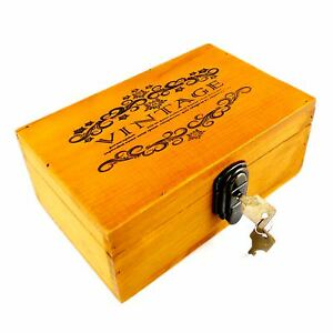 Wooden-Jewelry-Storage-Box-Vintage-Treasure-Chest-with-Lock-and-key-for-Keepsake