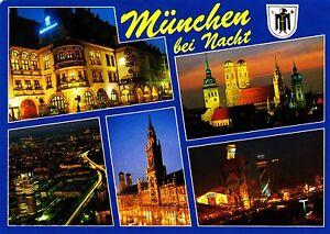 Muenchen-bei-Nacht-Ansichtskarte-1992-gelaufen
