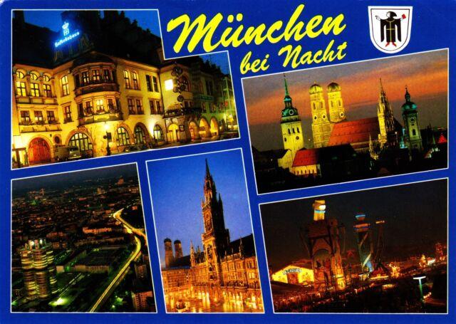 München bei Nacht ,Ansichtskarte, 1992 gelaufen
