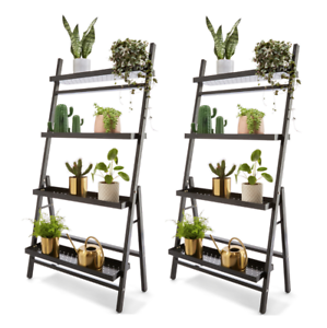 the best attitude c6823 462fa Details about Set of 2 - Metal Plant Stand Tiered Garden Ladder Shelf 1-12  Pots Home Greenery