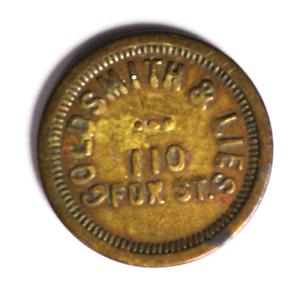 Goldsmith-amp-Lies-110-Fox-St-5c-Trade-Token-Aurora-Illinois-21mm