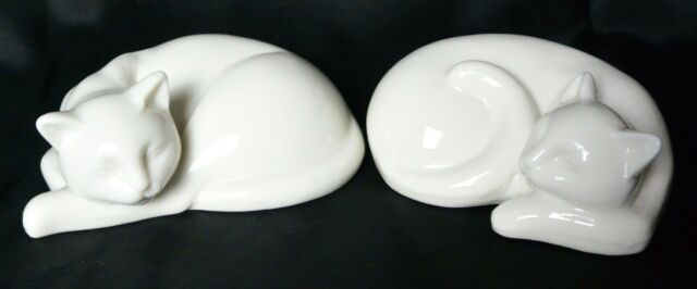 Vintage Pair of Solid White Porcelain Sleeping Cats Kittens Siamese