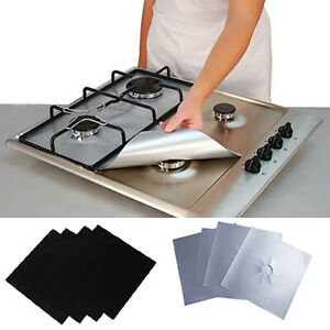 Am-4Pcs-Square-Foil-Gas-Hob-Protector-Liner-Reusable-Easy-Clean-Protection-Pad