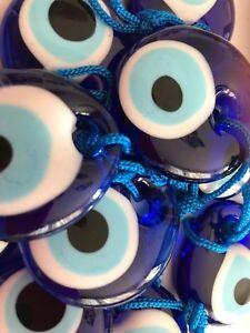 "50 pcs x TURKISH BLUE EVIL EYE GLASS AMULET CHARM NAZAR BONCUGU  4 cm / 1.54"""