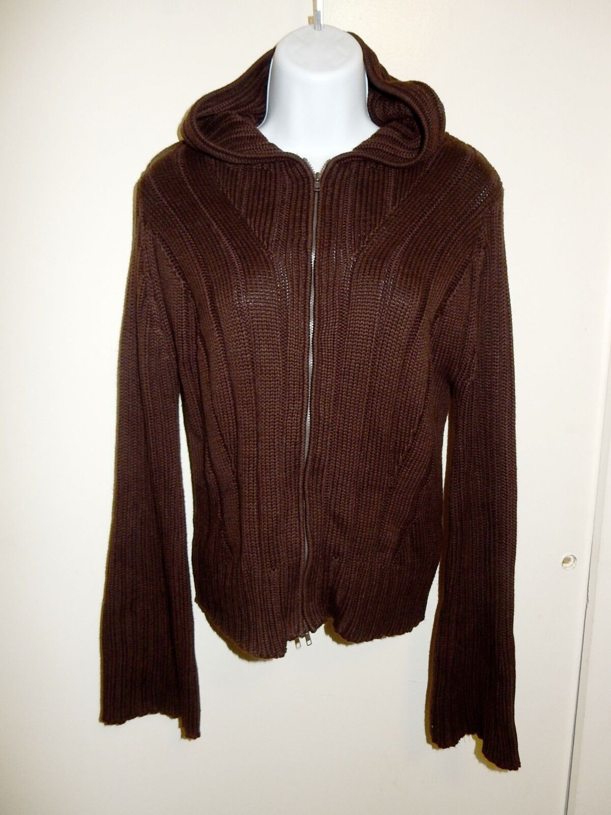 5.525 COTTON BLEND CHOCOLATE BROWN ZIPPED HOODED RIBBED KNIT CARDIGAN SWEATER M