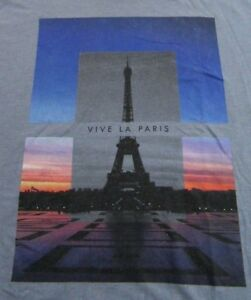 Vive-Le-Paris-Eiffel-Tower-France-Vacation-Old-Navy-SS-Bluish-Gray-T-Shirt-Sz-M