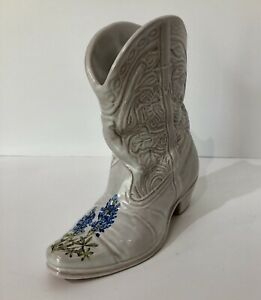 Vintage-Frankoma-Pottery-White-Cowboy-Boot-Vase-Bluebonnets-133-Discontinued