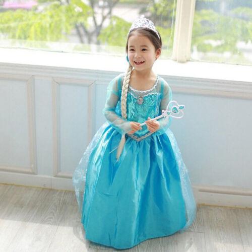 Girls Princess Dress Ice Elsa Queen Dress Up Costume Party Fancy Cosplay 3-8T