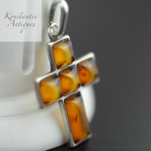 Vintage sterling silver cross pendant real amber rare solid gift