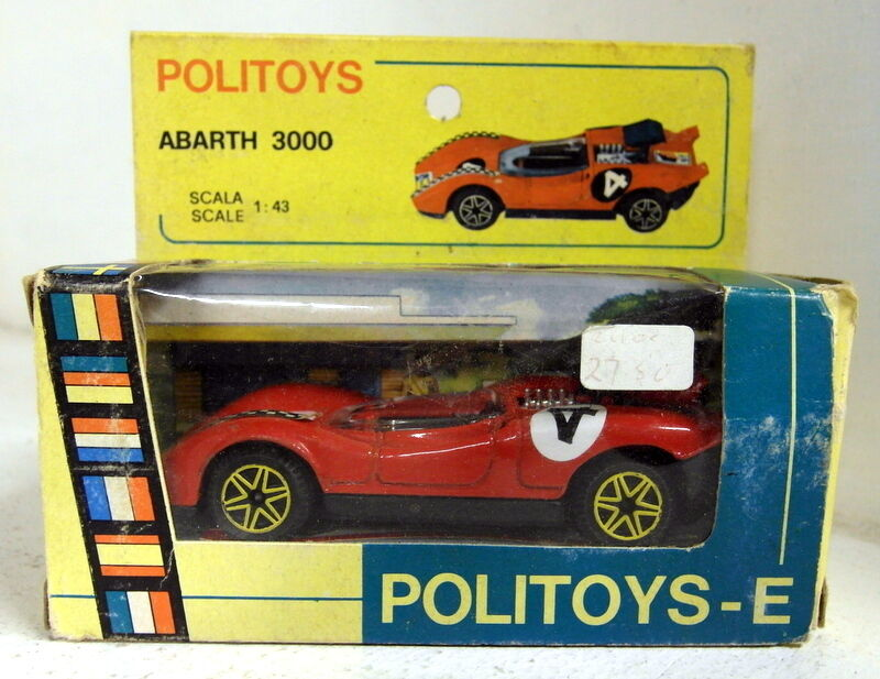 Politoys 1 43 Scale 594 Abarth 3000 Red gold spokes diecast model car