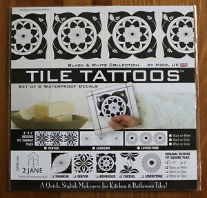Details About Black U0026 White Tile Tattoos Waterproof Decals Kitchen Bathroom  Tile Stickers Pack