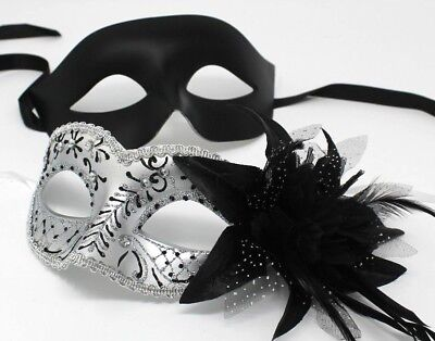 HIS N HERS PAIR OF ALL BLACK COUPLES VENETIAN MASQUERADE PARTY EYE MASKS