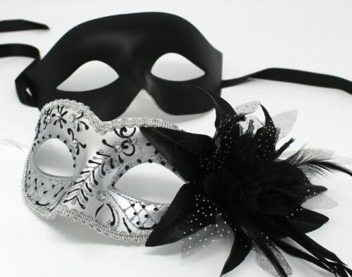 HIS N HERS PAIR COUPLES SILVER AND  BLACK VENETIAN MASQUERADE PARTY  EYE MASKS