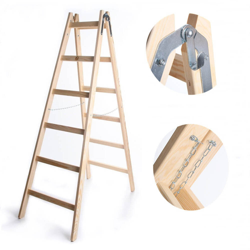 Leiter Holzleiter Zweiseitige Klappleiter Sprossenleiter belastbar 150kg 5 Gr.