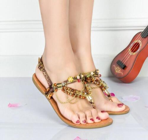 Ethnique Femme Bohême chaînes perles Flats Flip Flops Bride Arrière Sandales de plage S206