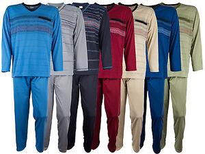 Herren-Schlafanzug-Pyjama-von-SOUNON-100-Baumwolle-7-Farben-Gr-M-3XL