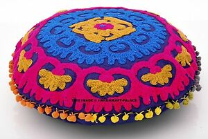 16-034-BLUE-PINK-EMBROIDERED-DECORATIVE-FLOOR-ROUND-PILLOW-CUSHION-POUF-COVER-Boho