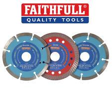 "FAITHFULL 3x Diamond Blades 4 1/2"" 115mm For Tile/Masonry/Brick FAIDB115TURB"