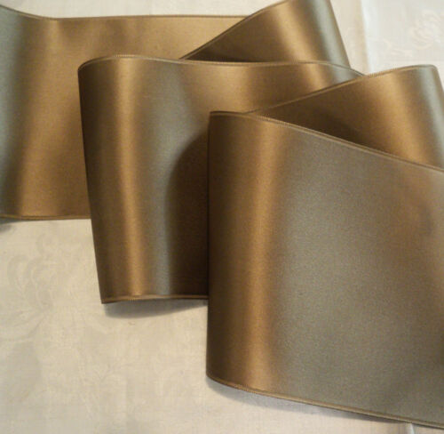 """SABLE TAN//TAUPE 4/"""" WIDE SWISS DOUBLE FACE SATIN RIBBON"""