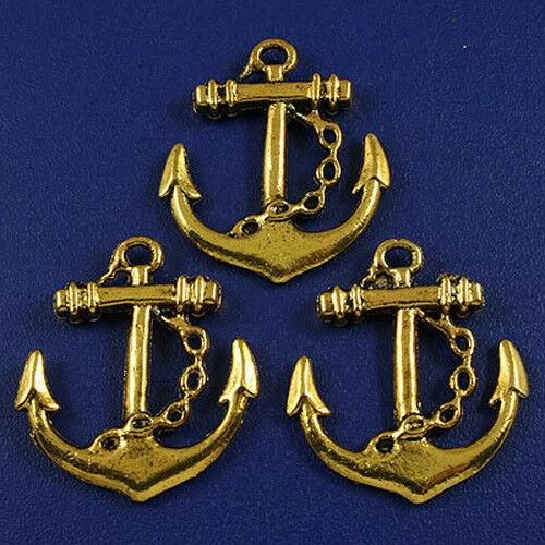 8pcs dark gold tone anchor charms h3158