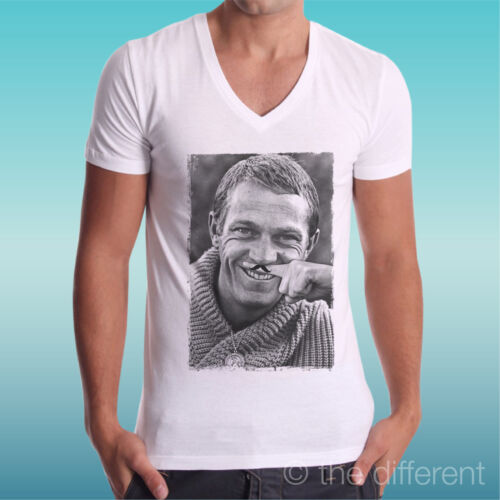 """T-Shirt Herren Av /"""" Steve Mcqueen Funny Finger Mustache Schnurrbart /"""""""