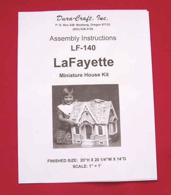Dura Craft Lafayette Lf140 Dollhouse Assembly Instructions Orig