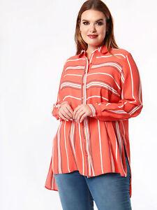 Koko Womens Plus Size Contrast Stripe Pocket Shirt