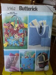 Oop-Butterick-3562-misses-summer-beach-totes-shopping-lining-NEW