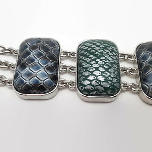 Faux-Gray-Snakeskin-Bracelet-With-Magnetic-Clasp-amp-Safety-Catch