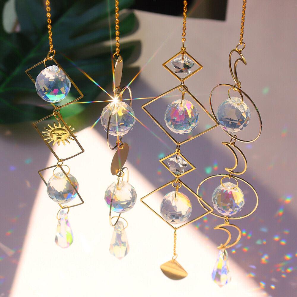 Clear Crystal Prism Ball Feng Shui Pendant Hangings Rainbow Suncatcher Decor Art